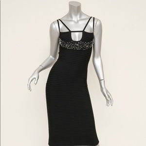 Hervé Leger Bandage Dress Black Crystal Detail Sm